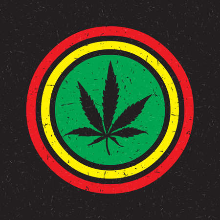cannabis sativa: Cannabis leaf in colorful circle with grunge shapes on black background. Rastafarian poster.
