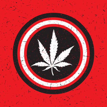 Cannabis leaf in black and white circle with grunge shapes on red background. Rastafarian poster. Illustration