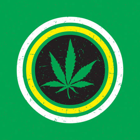cannabis sativa: Cannabis leaf in white and yellow circle with grunge shapes on green background. Rastafarian poster.