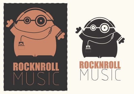 funny robot: Funny monster with audio player listening rocknroll music in headphones. Illustration
