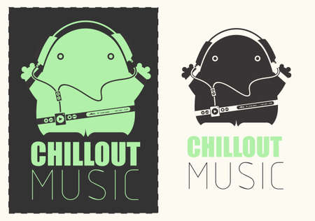 chillout: Funny monster with audio player listening chillout music in headphones. Illustration
