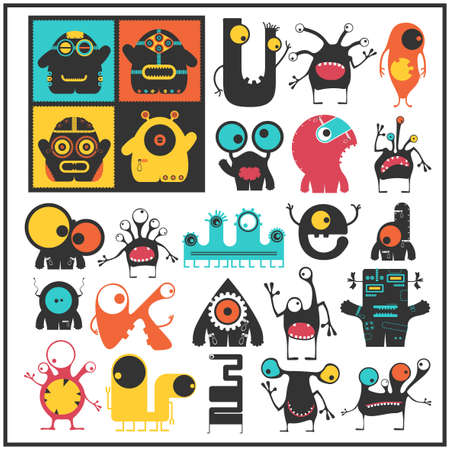 funny robot: Set of cute monsters isolated on white. Collection of colorful character stickers for different use. Cartoon illustration