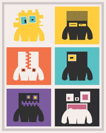 funny robot: Set of six cute monsters with emotions on color background. Collection of funny characters. Cartoon illustration
