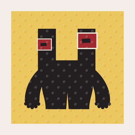 funny robot: Cute monsters with emotions on yellow background with dots texture. Cartoon illustration