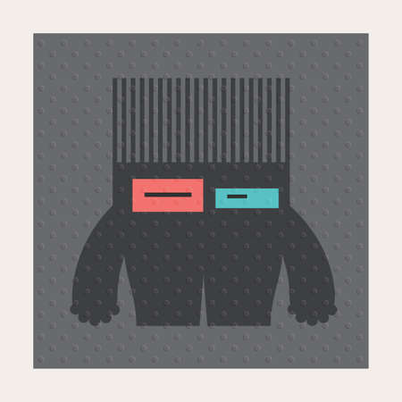 Cute monsters with emotions on dark gray background with dots texture. Cartoon illustration