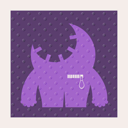 Cute monsters with emotions on purple background with dots texture. Cartoon illustration