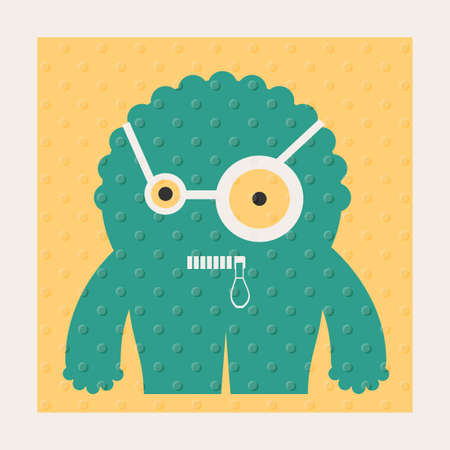 Cute monsters with emotions on yellow background with dots texture. Cartoon illustration