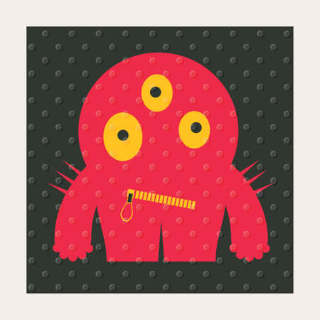 Cute monsters with emotions on black background with dots texture. Cartoon illustration Illustration