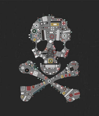 Metallic Gray steam punk skull with industrial elements on dark grunge background.