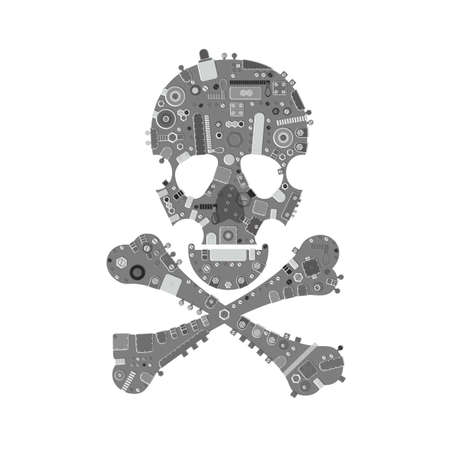 mort: Metallic Gray steam punk skull with industrial elements on white grunge background.