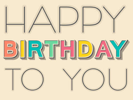 Vintage color Happy Birthday gift poster.