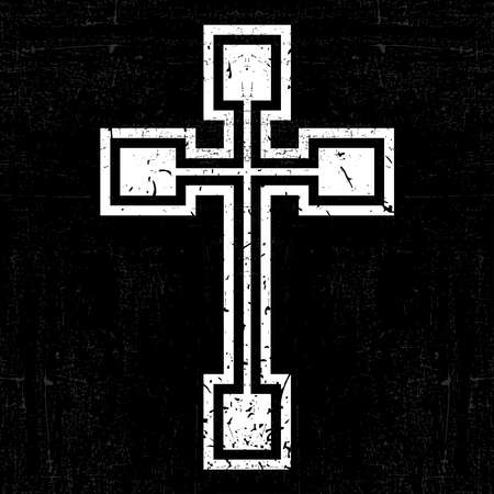 White cross on black grunge background Ilustração