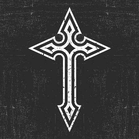 White cross on black grunge background Illustration