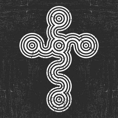 White cross on black grunge background, for different use. vector illustration. Illustration