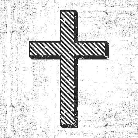 Black cross with grunge shapes isolated on white, for different use. vector illustration. Ilustração