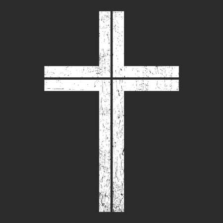 White cross on black grunge background, for different use. vector illustration. Ilustração