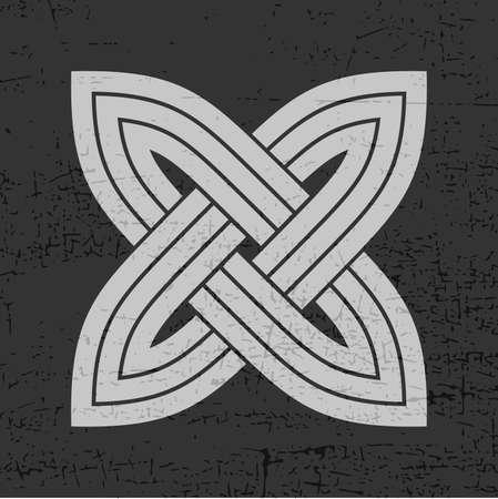 Grey cross on grunge black illustration.