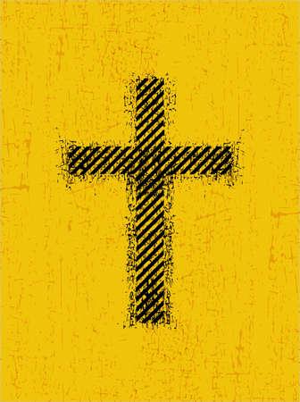 Black cross on grunge yellow illustration.
