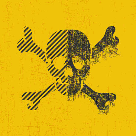 Black skull with dirty shapes on grunge yellow illustration.