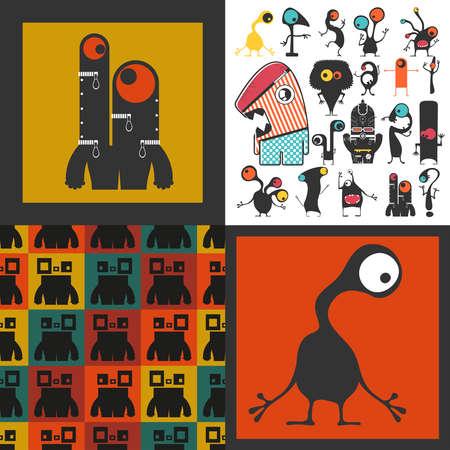 Conjunto de monstruos lindos. Pegatinas de papel con humanoides. patrón sin costuras Foto de archivo - 89928451
