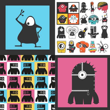 Conjunto de monstruos lindos. Pegatinas de papel con humanoides. patrón sin costuras Foto de archivo - 89928450