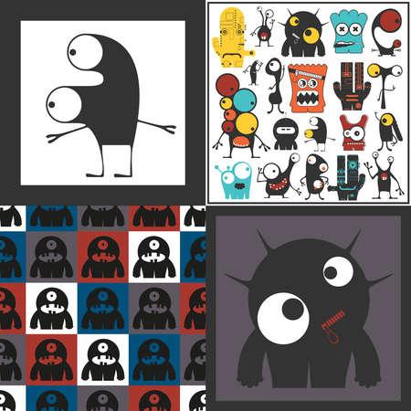 Conjunto de monstruos lindos. Pegatinas de papel con humanoides. patrón sin costuras Foto de archivo - 89930385
