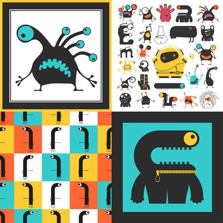 Conjunto de monstruos lindos. Pegatinas de papel con humanoides. patrón sin costuras Foto de archivo - 89930384