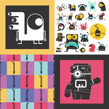 Set of cute monsters. Paper stickers with humanoids. seamless pattern