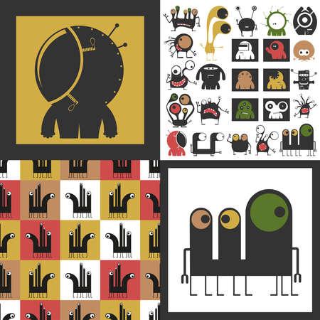 Conjunto de monstruos lindos. Pegatinas de papel con humanoides. patrón sin costuras Foto de archivo - 89930394