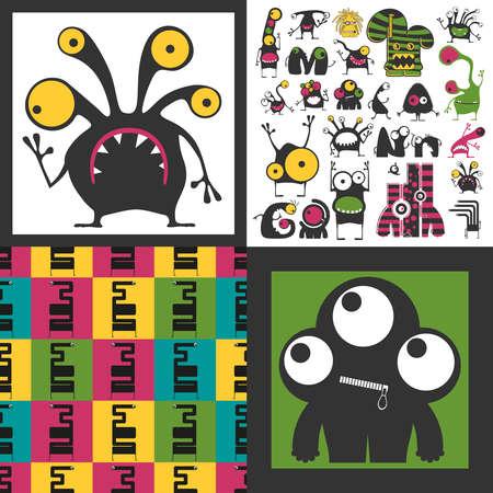 Conjunto de monstruos lindos. Pegatinas de papel con humanoides. patrón sin costuras Foto de archivo - 89930392