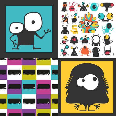 Conjunto de monstruos lindos. Pegatinas de papel con humanoides. patrón sin costuras Foto de archivo - 89930401