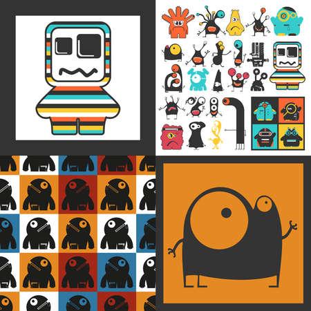 Conjunto de monstruos lindos. Pegatinas de papel con humanoides. patrón sin costuras Foto de archivo - 89930402