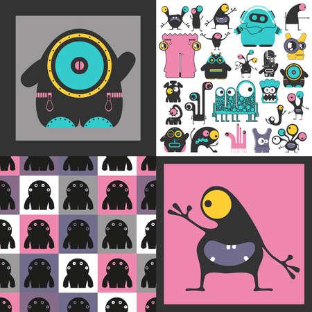 Conjunto de monstruos lindos. Pegatinas de papel con humanoides. patrón sin costuras Foto de archivo - 91041734