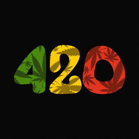 颜色文本420与大麻叶