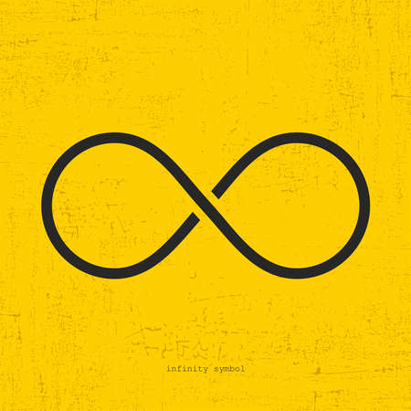 Infinity icon on grunge yellow background. Иллюстрация