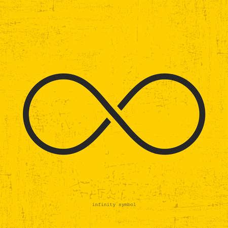 Infinity icon on grunge yellow background. Illustration