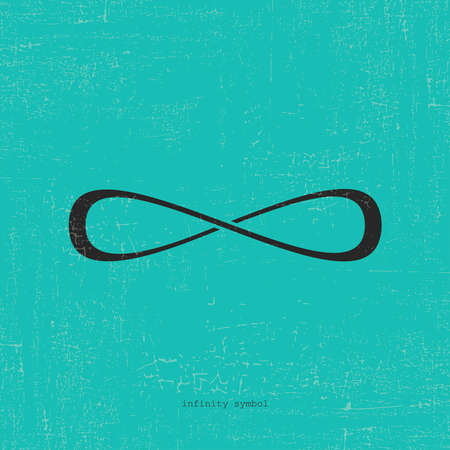 Infinity icon on grunge blue background.