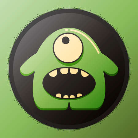 Cute glossy green monster in black circle.