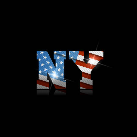 Abbreviation NY with the US flag inside on black background.