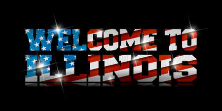 inscription Welcome to Illinois with the US flag inside on black background. Çizim