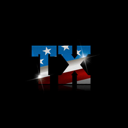 Abbreviation TX with the US flag inside on black background.