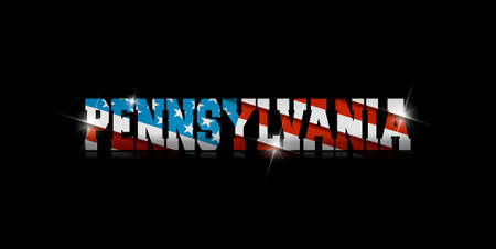 inscription Pennsylvania with the US flag inside on black background.