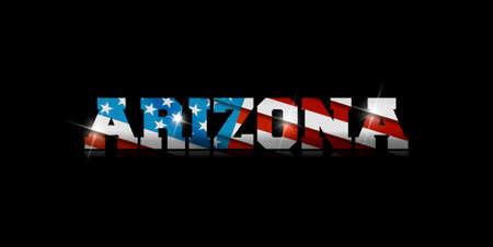 inscription Arizona with the US flag inside on black background. Çizim