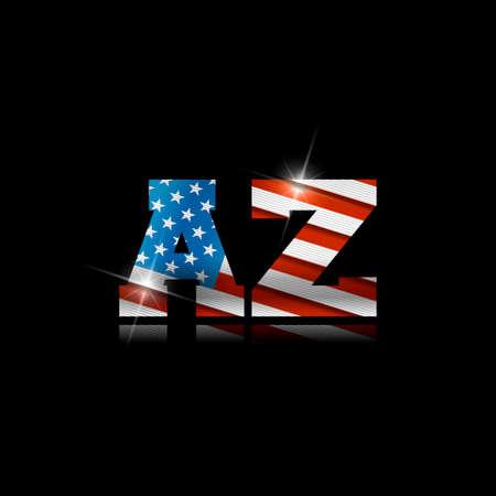 Abbreviation AZ with the US flag inside on black background.