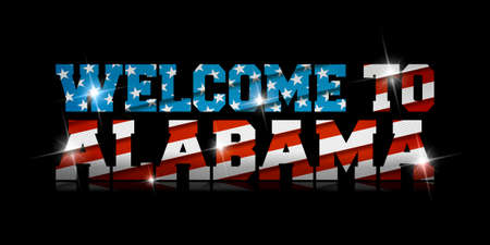 inscription Welcome to Alabama with the US flag inside on black background. Çizim