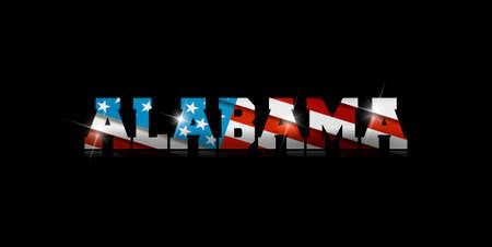 inscription Alabama with the US flag inside on black background.