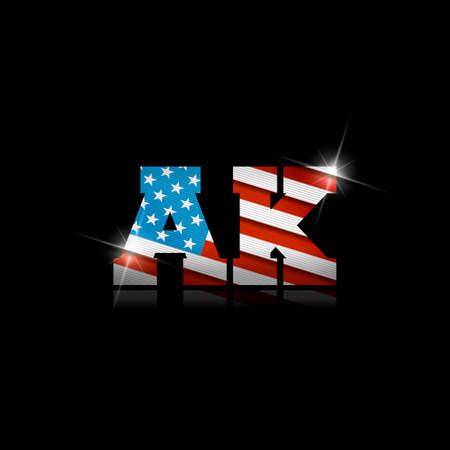 Abbreviation AK with the US flag inside on black background.