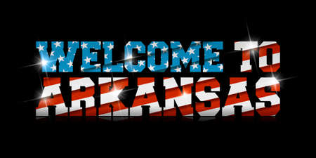 inscription Welcome to Arkansas with the US flag inside on black background.