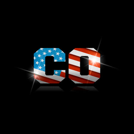Abbreviation CO with the US flag inside on black background.