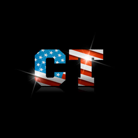Abbreviation CT with the US flag inside on black background. Çizim